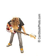 baßist, jugendlicher junge, mit, gitarre