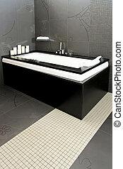 bañera, negro