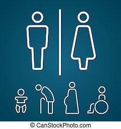 baño, macho, hembra, embarazada, señal