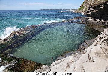 baño, océano, australia, construido, utilizar, siglo, newcastle, -, él, uno, australia., 19, labour., baños, condenar, agujero, más viejo, bogie