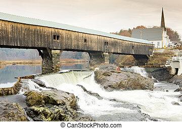 baño, puente, (1832), new hampshire, estados unidos de...