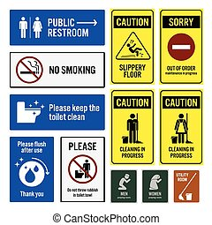 baño, servicio, aviso, señal de peligro