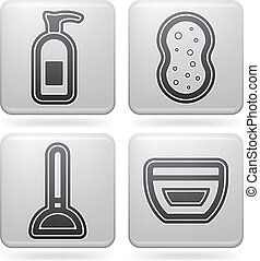 Utensilios ba o platino cuarto de ba o cuadrado iconos cosas set relacionado 2d - Utensilios bano ...