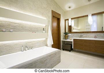 baño, y, lavabo