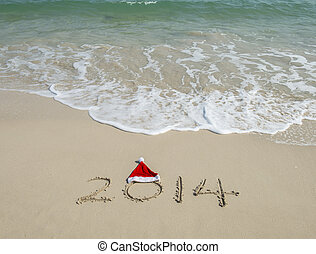 bałwan, święty, machać, piasek morze, 2014, plaża