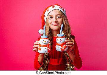 bałwan, butelki, błyskotka, sok, szyja, zawiera, tło., formułować, 2, nastolatek, święty, dziewczyna, kapelusz, boże narodzenie, czerwony