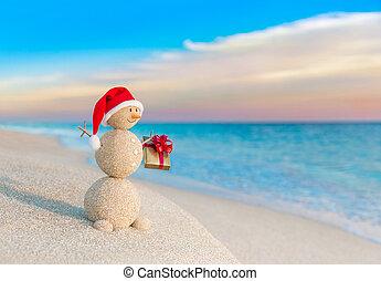 bałwan, dar, kapelusz, zachód słońca, święty, plaża, boże narodzenie