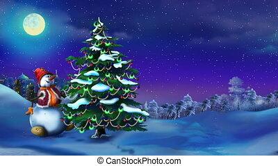 bałwan, drzewo, boże narodzenie