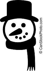 bałwan, głowa, z, kapelusz, i, szalik