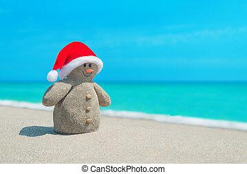 bałwan, morze, kapelusz, smiley, czerwony, święty, plaża, piaszczysty