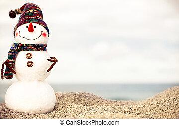 bałwan, pojęcie, sunglasses, słoneczny, lata, plaża., święty, nowy, święto, kapelusz, boże narodzenie, czerwony, karcięta.
