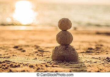 bałwan, pojęcie, sunglasses, słoneczny, lata, plaża., czerwony, święty, bilety, nowy, święto, kapelusz, boże narodzenie, piaszczysty