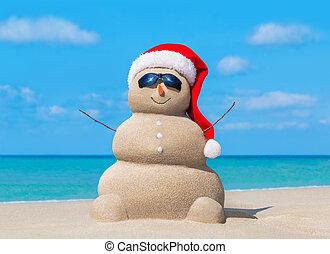 bałwan, sunglasses, kapelusz, ocean, święty, plaża, boże narodzenie