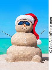 bałwan, sunglasses, kapelusz, tropikalna plaża, boże narodzenie, piaszczysty