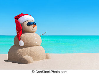 bałwan, sunglasses, morze, kapelusz, święty, plaża, boże narodzenie