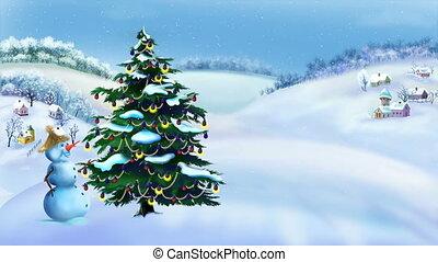 bałwan, zima drzewo, dzień, cudowny, boże narodzenie