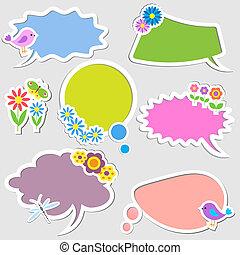 bańki, kwiaty, mowa, ptaszki