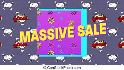 bańki, tło, masywny, na, sprzedaż, tekst, purpurowy, przeciw...