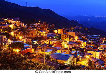 bažina, taiwan, vesnice, večer, chiu