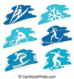ba, スポーツ, グランジ, 冬, アイコン