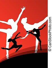 ba, astratto, giovane, silhouette, ginnasti, attivo, ragazza, equilibrismo