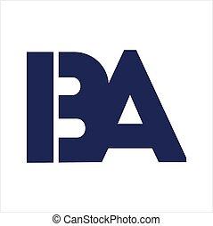 ba, compañía, iba, carta, logotipo, iniciales