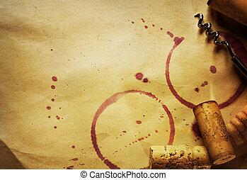ba, corcho, vendimia, manchas, papel, sacacorchos, vino rojo