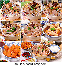 ba kut teh collage. Malaysian stew of pork and herbal soup,...