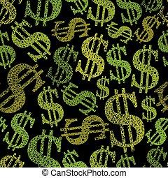 ba, pengar, dollar, seamless, mönster, symboler, tema, vektor, repeterande