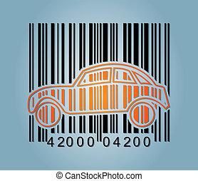 ba-rcode, abstrakcyjny, wóz, ikona