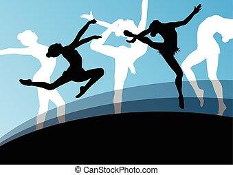 ba, resumen, joven, siluetas, gimnastas, activo, niña, ...