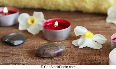 baad zout, massage olie, en, kaarsjes