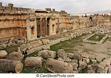 Baalbek - ruins of The Great Court the ancient Phoenician...