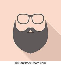 baard, hipster, vector, bril, meldingsbord