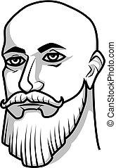 baard, kaal, mustache, man