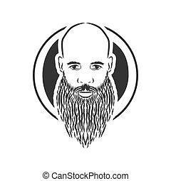 baard, kaal, ouderwetse , stijl, vector, man
