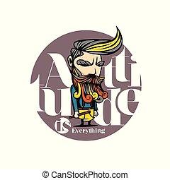 baard, vector, illustration., kleurrijke, man
