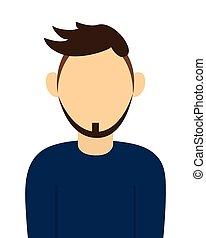 baard, verticaal, pictogram, anoniem, man