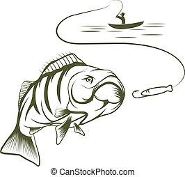 baars, groot, illustratie, mond, visser, scheepje