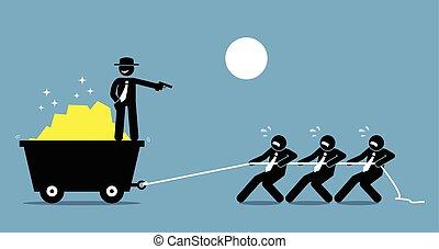 baas, het dwingen, werknemers, en, werkmannen , te werken, hard, door, het dreigen, hen, met, een, gun.
