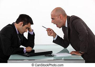 baas, het schreeuwen, op, werknemer