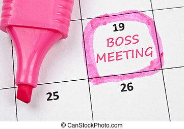 baas, vergadering, mark
