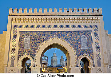 Bab Bou Jeloud gate (The Blue Gate) located at Fez, Morocco
