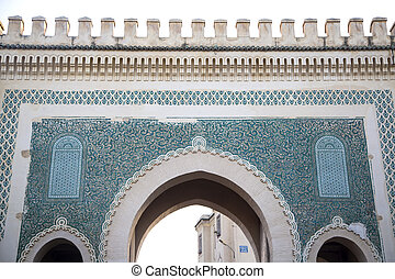 Bab Bou Jeloud gate (Blue Gate) in Fez, Morocco