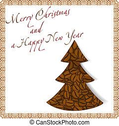 bab, kávécserje, elkészített, fa, karácsony