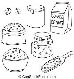 bab, kávécserje, vektor, állhatatos