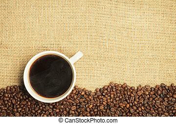 bab, kávécserje, zsákvászon, háttér, csésze