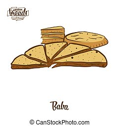 baba , ζωγραφική , έγχρωμος , bread