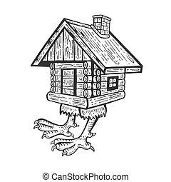 baba, gravure, style, illustration., maison, conte fées, caractère, main, hutte, vecteur, planche, imitation., égratignure, dessiné, poulet, jambes, yaga's, image.