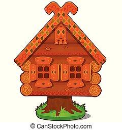baba, gros plan, tales., maison bois, caractère, isolé, yaga, arrière-plan., vecteur, russe, blanc, dessin animé, folklorique, illustration.